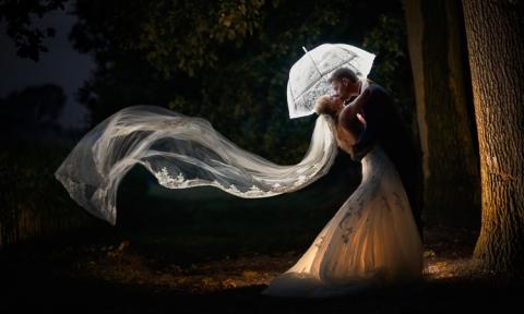 Brautpaar mit Schleier, Hochzeitsfotograf Frankfurt
